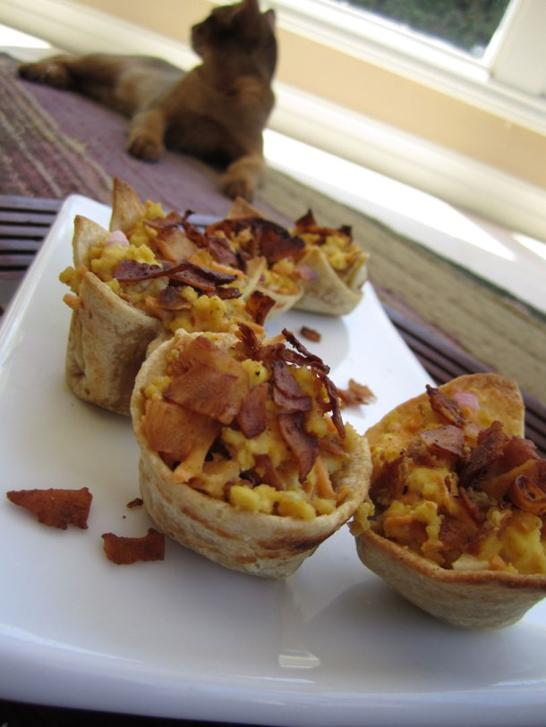 Vegan Bacon Cheddar Mini Quiches