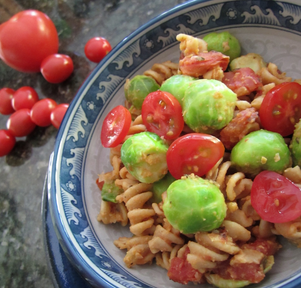 Pasta with Brussels Sprouts in Chickpea Tomato Sauce ~ Vegan MOFO 2013 ...